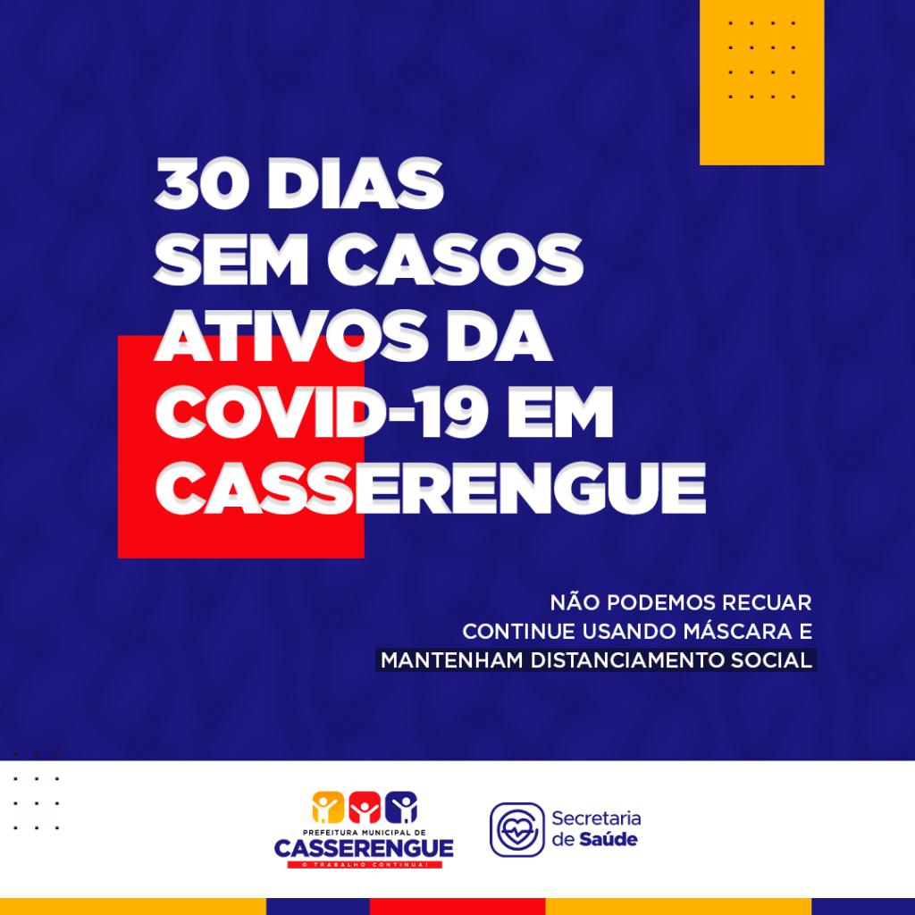 ESTAMOS 30 DIAS SEM CASOS ATIVOS DA COVID-19