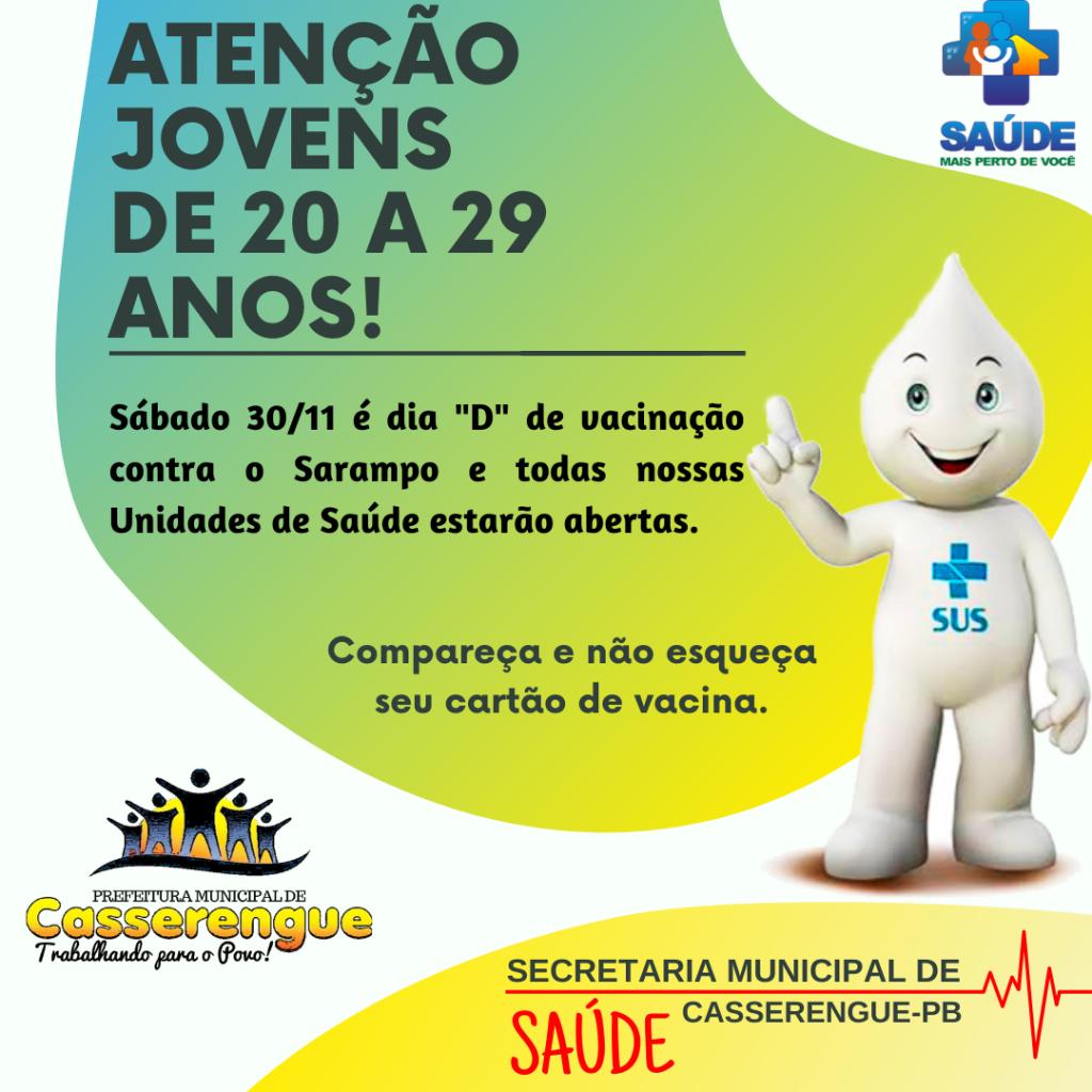 ATENÇÃO JOVENS DE 20 A 29 ANOS!