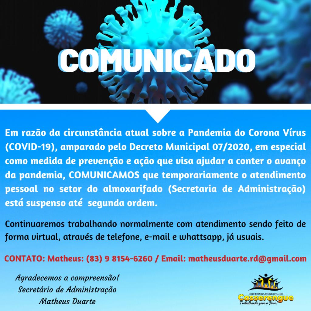 COMUNICADO / SETOR ADMINISTRATIVO
