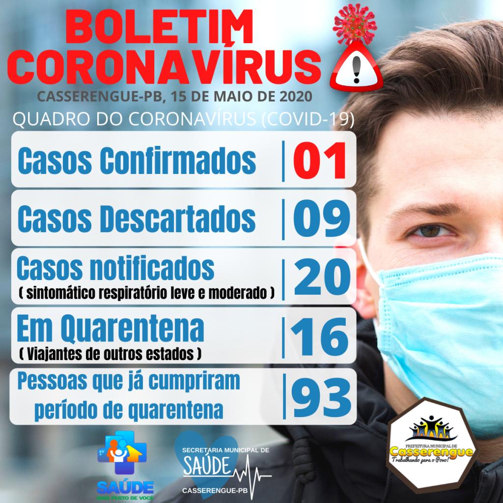 Boletim Epidemiológico, 15/05/2020 - Casserengue-PB
