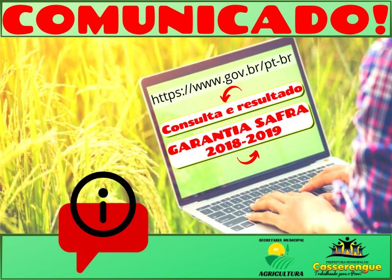 COMUNICADO DA SECRETARIA MUNICIPAL DE AGRICULTURA