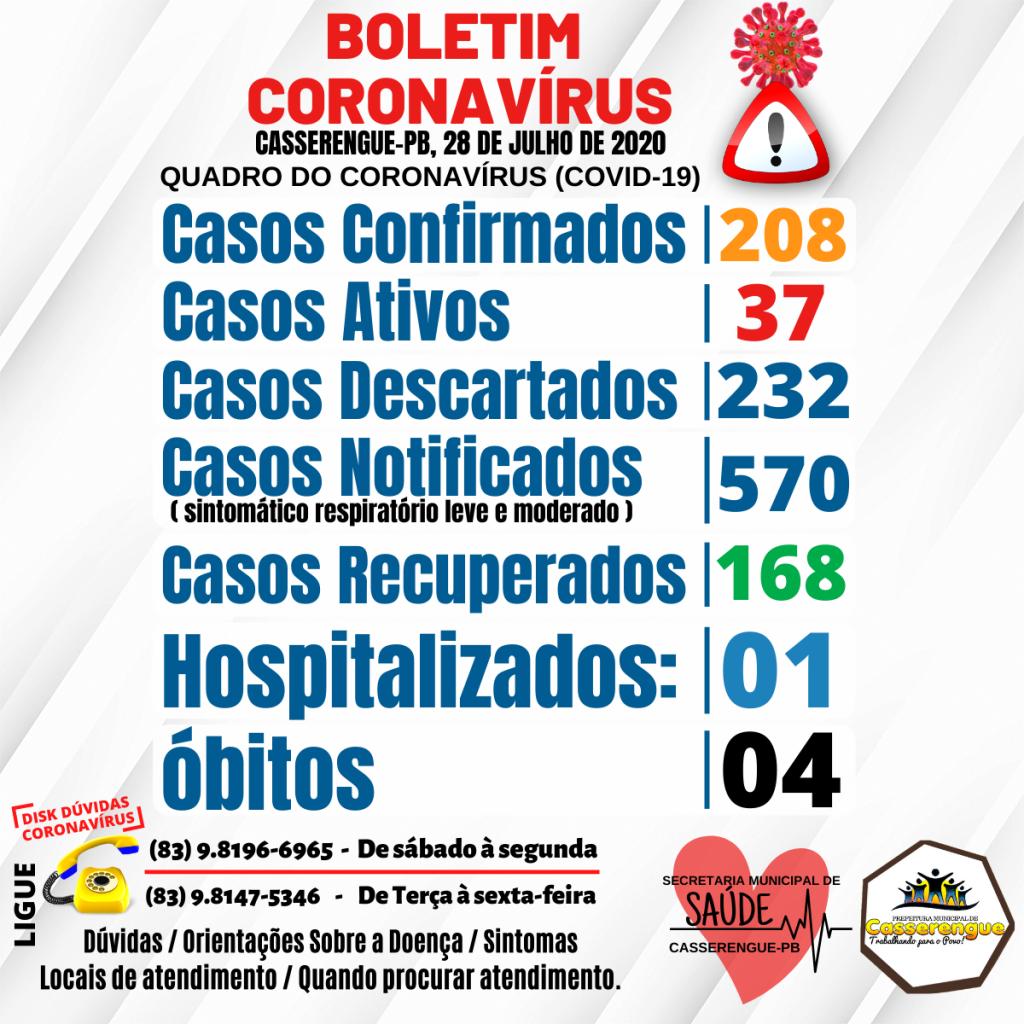 Boletim Epidemiológico, 28/07/2020 - Casserengue-PB