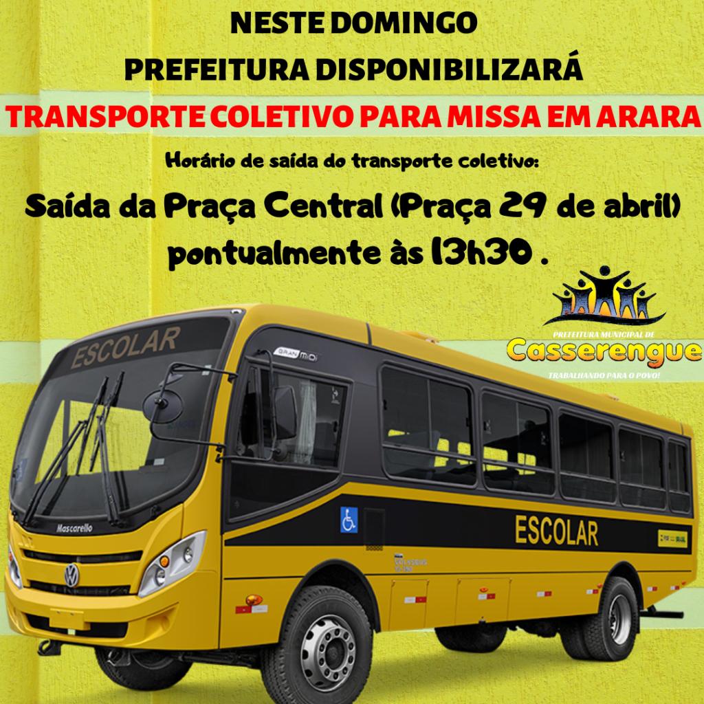 Prefeitura irá disponibilizar transporte coletivo para Missa em Arara