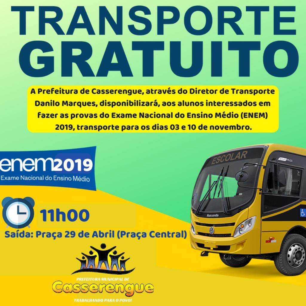 Prefeitura Disponibilizará transporte para o Enem 2019